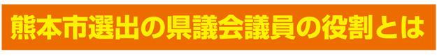 熊本県選出の県議会議員の役割とは
